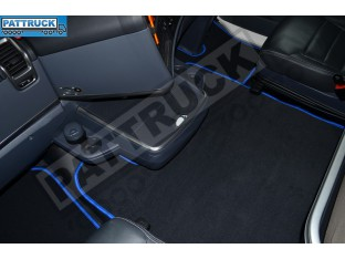 VELOUR [CARPET] FLOOR MATS SET-BLACK WITH BLUE TRIM FIT SCANIA R 2012-17 AUTOMATIC , FOLDING PASSENGER SEAT