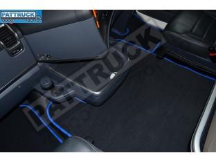 VELOUR [CARPET] FLOOR MATS SET-BLACK WITH BLUE TRIM FIT SCANIA R 2012-17 AUTOMATIC , FOLDING PASSENGER SEAT