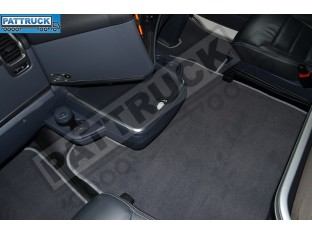 VELOUR [CARPET] FLOOR MATS SET-GREY FIT SCANIA R 2012-17 AUTOMATIC , FOLDING PASSENGER SEAT