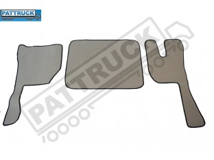 VELOUR FLOOR MATS SET-BEIGE WITH BLACK TRIM COMPATIBLE WITH VOLVO FH3 2009-2013 TWIN AIR SEATS