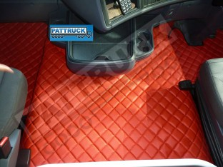 SCANIA R 2013-2017 STREAMLINE AUTOMATIC TRUCK ECO LEATHER FLOOR SET-RED