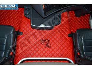 SCANIA R STREAMLINE 2013- 2017 AUTOMATIC - FOLDING PASSENGER SEAT- TRUCK ECO LEATHER FLOOR SET-RED