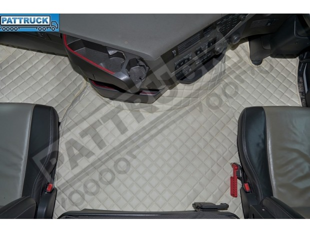 TRUCK ECO LEATHER FLOOR MATS SET- COMPATIBLE WITH VOLVO FH 4 2013+[TWIN AIR SEATS] BEIGE