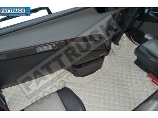 ECO LEATHER FLOOR MATS SET -BEIGE, COMPATIBLE WITH VOLVO FH 2013+AUTOMATIC-FOLDING PASSENGER SEAT