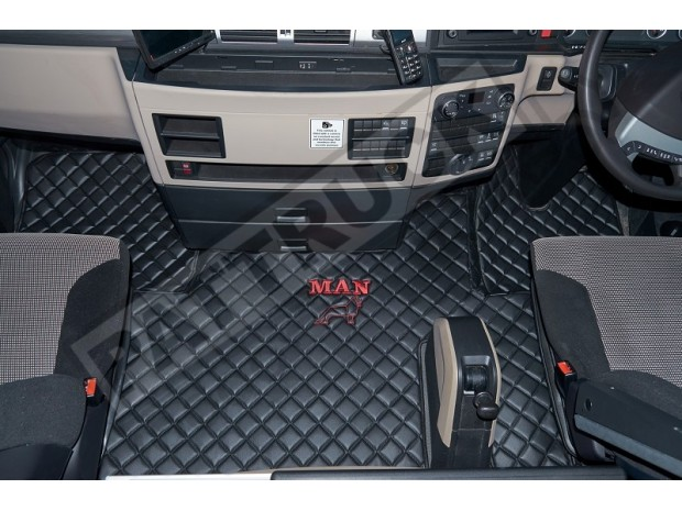 MAN TGX TRUCK ECO LEATHER FLOOR SET-BLACK - AFTER 67 PLATE