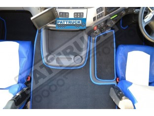 VELOUR [CARPET] FLOOR MATS SET-BLACK WITH BLUE TRIM FIT DAF CF-EURO 6 TILL 67 PLATE
