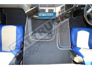 VELOUR [CARPET] FLOOR MATS SET-GREY WITH GREY TRIM FIT DAF CF-EURO 6 TILL 67 PLATE