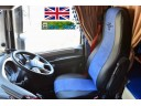 TRUCK HALF ECO LEATHER SEAT COVERS FIT DAF XF 106 CF EURO 6 PAIR OF BLACK / BLUE