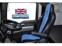 TRUCK HALF ECO LEATHER SEAT COVERS FIT MAN TGX / TGA/ TGS PAIR OF BLACK / BLUE