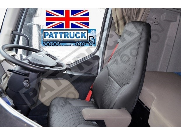 TRUCK ECO LEATHER SEAT COVERS FIT RENAULT PREMIUM PAIR OF BLACK AND BEIGE