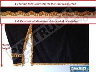 TRUCK SIDE CURTAINS - BLACK AND GOLD TASSELS FIT MERCEDES,MAN,DAF,VOLVO,SCANIA,IVECO,RENAULT