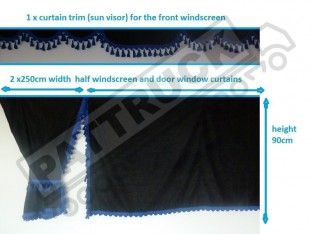 TRUCK SIDE CURTAINS - BLACK AND BLUE TASSELS FIT MERCEDES,MAN,DAF,VOLVO,SCANIA,IVECO,RENAULT