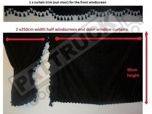 TRUCK SIDE CURTAINS - BLACK AND BLACK TASSELS FIT MERCEDES,MAN,DAF,VOLVO,SCANIA,IVECO,RENAULT