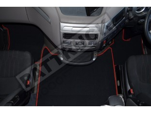 DAF XF 106 AUTOMATIC -VELOUR [CARPET] FLOOR MATS SET-BLACK WITH RED TRIM