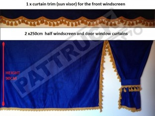 TRUCK SIDE CURTAINS - BLUE AND GOLD TASSELS FIT MERCEDES,MAN,DAF,VOLVO,SCANIA,IVECO,RENAULT