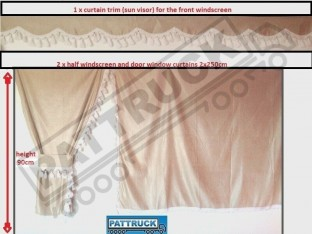 TRUCK SIDE CURTAINS - BEIGE AND WHITE TASSELS FIT MERCEDES,MAN,DAF,VOLVO,SCANIA,IVECO,RENAULT