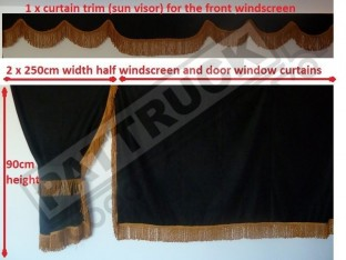 TRUCK SIDE CURTAINS - BLACK AND GOLD STRINGS FIT MERCEDES,MAN,DAF,VOLVO,SCANIA,IVECO,RENAULT