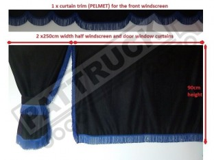 TRUCK SIDE CURTAINS - BLACK AND BLUE STRINGS FIT MERCEDES,MAN,DAF,VOLVO,SCANIA,IVECO,RENAULT