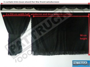TRUCK SIDE CURTAINS - BLACK AND BLACK STRINGS FIT MERCEDES,MAN,DAF,VOLVO,SCANIA,IVECO,RENAULT