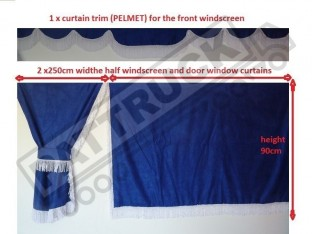 TRUCK SIDE CURTAINS - BLUE WITH WHITE STRINGS FIT MERCEDES,MAN,DAF,VOLVO,SCANIA,IVECO,RENAULT