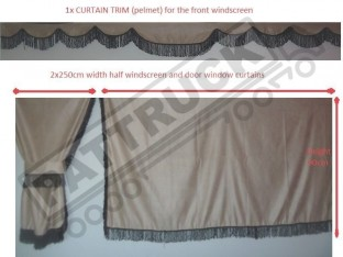 TRUCK SIDE CURTAINS - BEIGE WITH BLACK STRINGS FIT MERCEDES,MAN,DAF,VOLVO,SCANIA,IVECO,RENAULT
