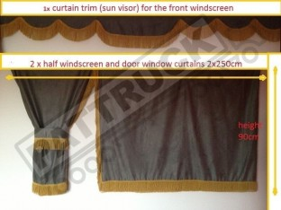TRUCK SIDE CURTAINS - GREY WITH GOLD STRINGS FIT MERCEDES,MAN,DAF,VOLVO,SCANIA,IVECO,RENAULT