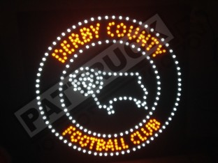 DERBY COUNTY TRUCK LED LOGO SIGN LIGHT BOARD 24V FREE DIMMER 50cm/50cm