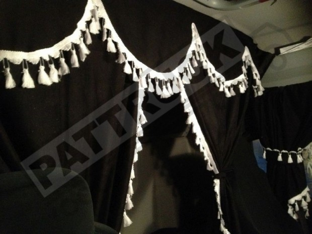 TRUCK CURTAINS FULL SET - BLACK WITH RED TASSELS FIT DAF SCANIA VOLVO MAN MERCEDES IVECO RENAULT