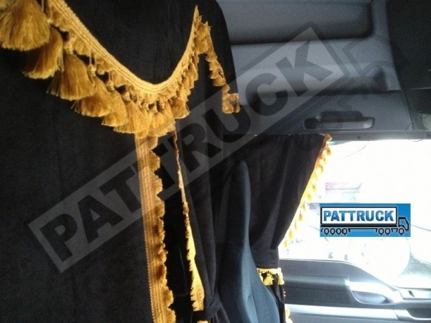 TRUCK CURTAINS FULL SET - BLACK WITH WHITE TASSELS FIT DAF SCANIA VOLVO MAN MERCEDES IVECO RENAULT