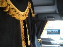 TRUCK CURTAINS FULL SET - BLACK WITH GOLD TASSELS FIT DAF SCANIA VOLVO MAN MERCEDES IVECO RENAULT