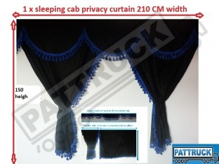 TRUCK CURTAINS FULL SET - BLACK WITH BLUE TASSELS FIT DAF SCANIA VOLVO MAN MERCEDES IVECO RENAULT