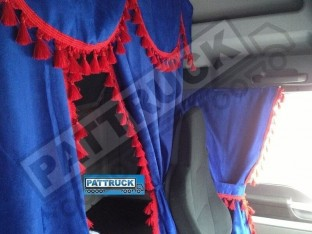 TRUCK CURTAINS FULL SET - BLUE WITH RED TASSELS FIT DAF SCANIA VOLVO MAN MERCEDES IVECO RENAULT
