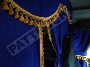 TRUCK CURTAINS FULL SET - BLUE WITH GOLD TASSELS FIT DAF SCANIA VOLVO MAN MERCEDES IVECO RENAULT