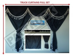 TRUCK CURTAINS FULL SET - BLUE WITH BLACK TASSELS FIT DAF SCANIA VOLVO MAN MERCEDES IVECO RENAULT