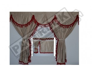 TRUCK CURTAINS FULL SET - BEIGE WITH BROWN TASSELS FIT DAF SCANIA VOLVO MAN MERCEDES IVECO RENAULT