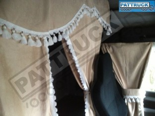 TRUCK CURTAINS FULL SET - BEIGE WITH RED TASSELS FIT DAF SCANIA VOLVO MAN MERCEDES IVECO RENAULT