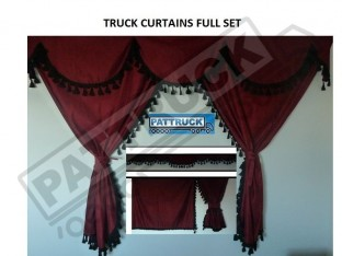 TRUCK CURTAINS FULL SET - BURGUNDY WITH WHITE TASSELS FIT DAF SCANIA VOLVO MAN MERCEDES IVECO RENAULT