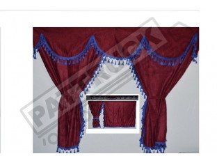 TRUCK CURTAINS FULL SET - BURGUNDY WITH BLACK TASSELS FIT DAF SCANIA VOLVO MAN MERCEDES IVECO RENAULT