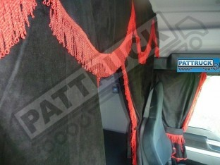 TRUCK CURTAINS FULL SET - BLACK WITH RED STRINGS FIT DAF SCANIA VOLVO MAN MERCEDES IVECO RENAULT