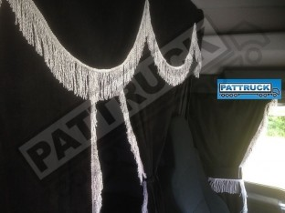 TRUCK CURTAINS FULL SET - BLACK WITH WHITE STRINGS FIT DAF SCANIA VOLVO MAN MERCEDES IVECO RENAULT