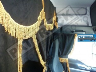 TRUCK CURTAINS FULL SET - BLACK WITH GOLD STRINGS FIT DAF SCANIA VOLVO MAN MERCEDES IVECO RENAULT