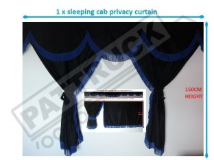 TRUCK CURTAINS FULL SET - BLACK WITH BLUE STRINGS FIT DAF SCANIA VOLVO MAN MERCEDES IVECO RENAULT