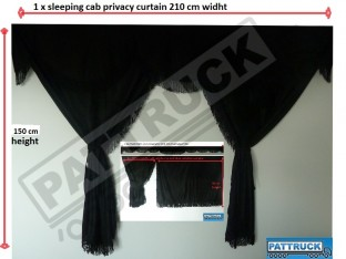 TRUCK CURTAINS FULL SET - BLACK WITH BLACK STRINGS FIT DAF SCANIA VOLVO MAN MERCEDES IVECO RENAULT