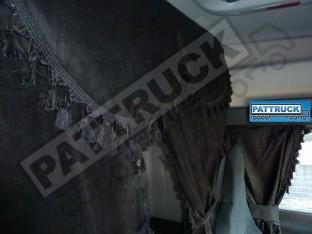 TRUCK CURTAINS FULL SET- BLACK WITH BLUE TASSELS FIT MAN XXL CAB