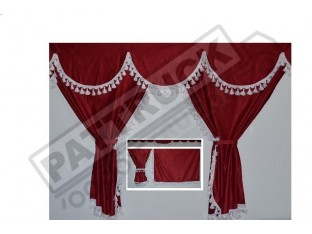 TRUCK CURTAINS FULL SET- BURGUNDY WITH WHITE TASSELS FIT MAN XXL CAB