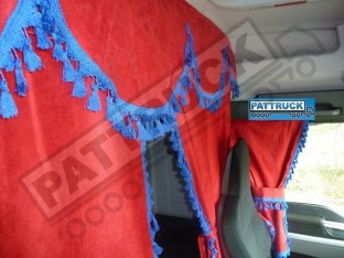 TRUCK CURTAINS FULL SET- RED WITH WHITE TASSELS FIT MAN XXL CAB