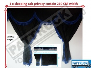 TRUCK CURTAINS FULL SET- BLACK WITH GOLD TASSELS FIT DAF SUPER SPACE CAB