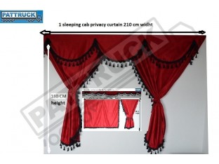 TRUCK CURTAINS FULL SET- BURGUNDY WITH BLACK TASSELS FIT DAF SUPER SPACE CAB
