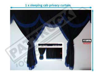 TRUCK CURTAINS FULL SET- BLACK WITH BLUE STRINGS FIT DAF SUPER SPACE CAB