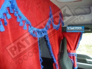 TRUCK CURTAINS FULL SET- RED WITH BLACK TASSELS FIT SCANIA TOPLINE